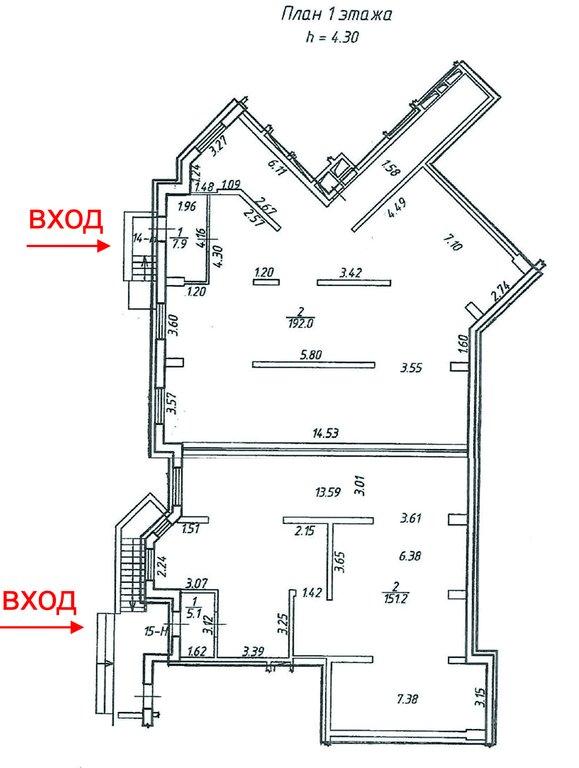 Сдаются 2 помещения свободного назначения, общей площадью 356,2м2, 192м2+151,2м2, с отдельными входами с улицы.