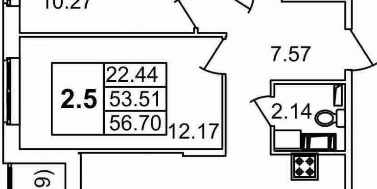 56.7м2, тип 2.5