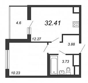 1 к кв 32,41м2